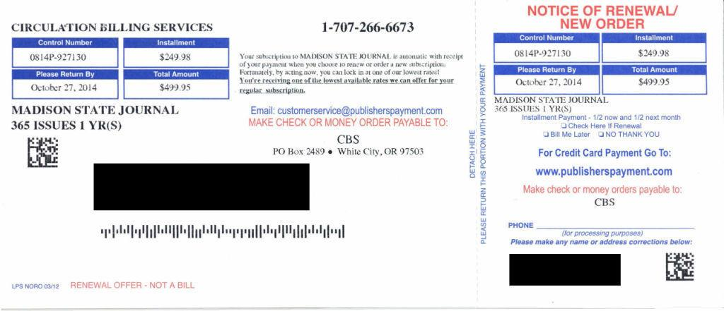 Madison State Journal' subscription invoice is phony | Local