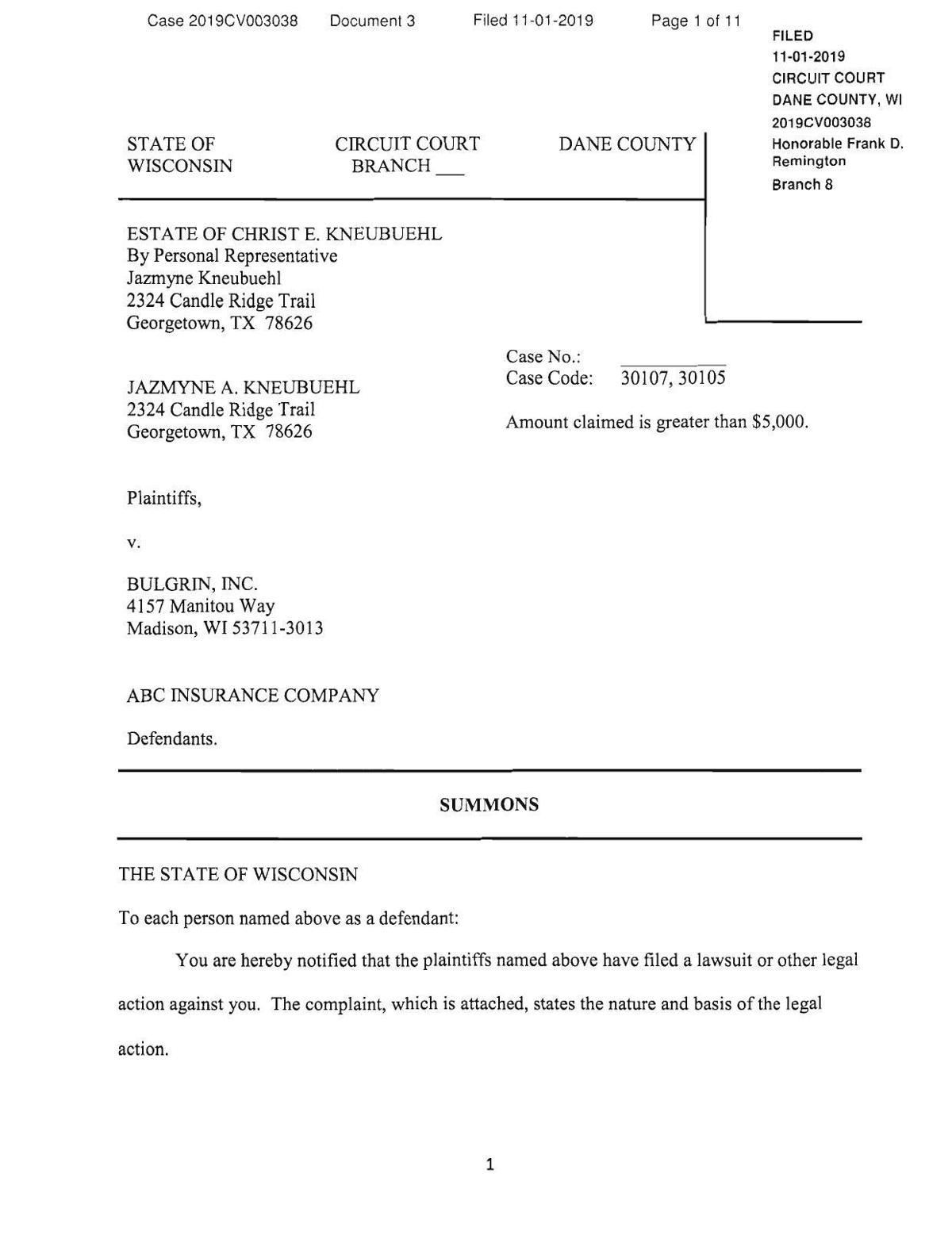 Culver's lawsuit