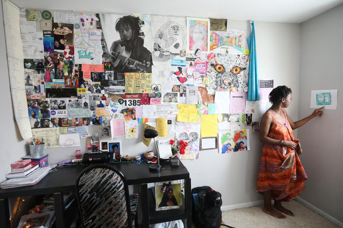 Pauline Diayen with bedroom collage