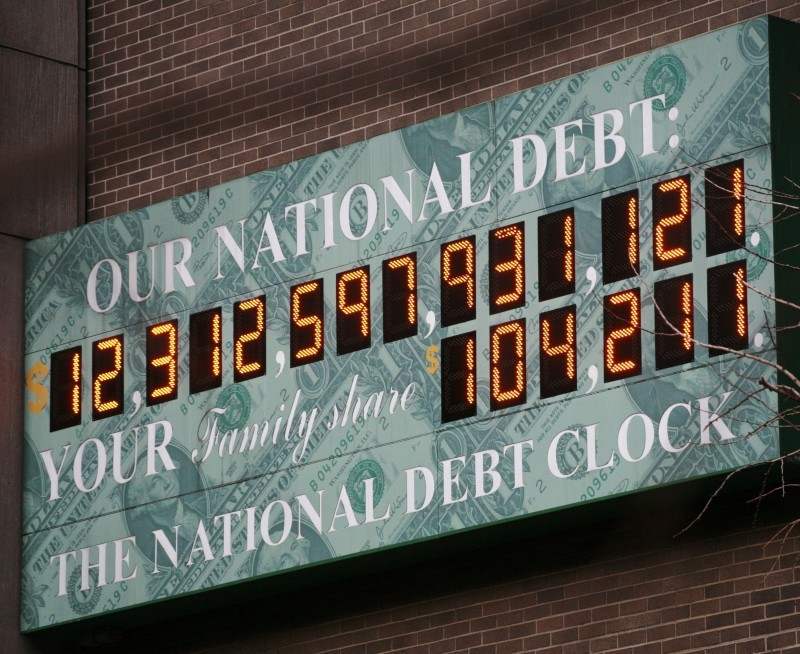 National Debt Clock in February 2010 file photo