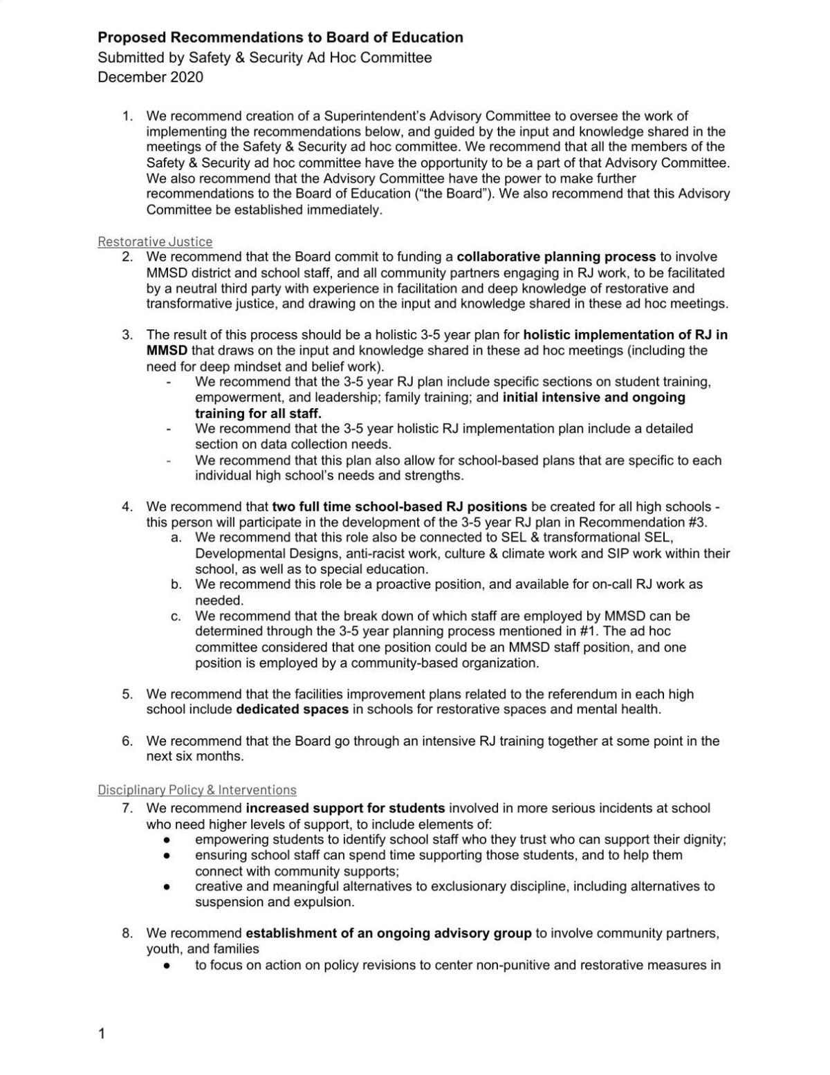Safety and Security Ad Hoc Recommendations