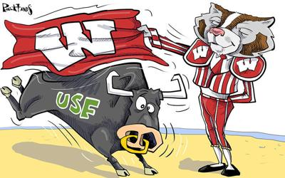 Bucky fights the University of South Florida Bulls