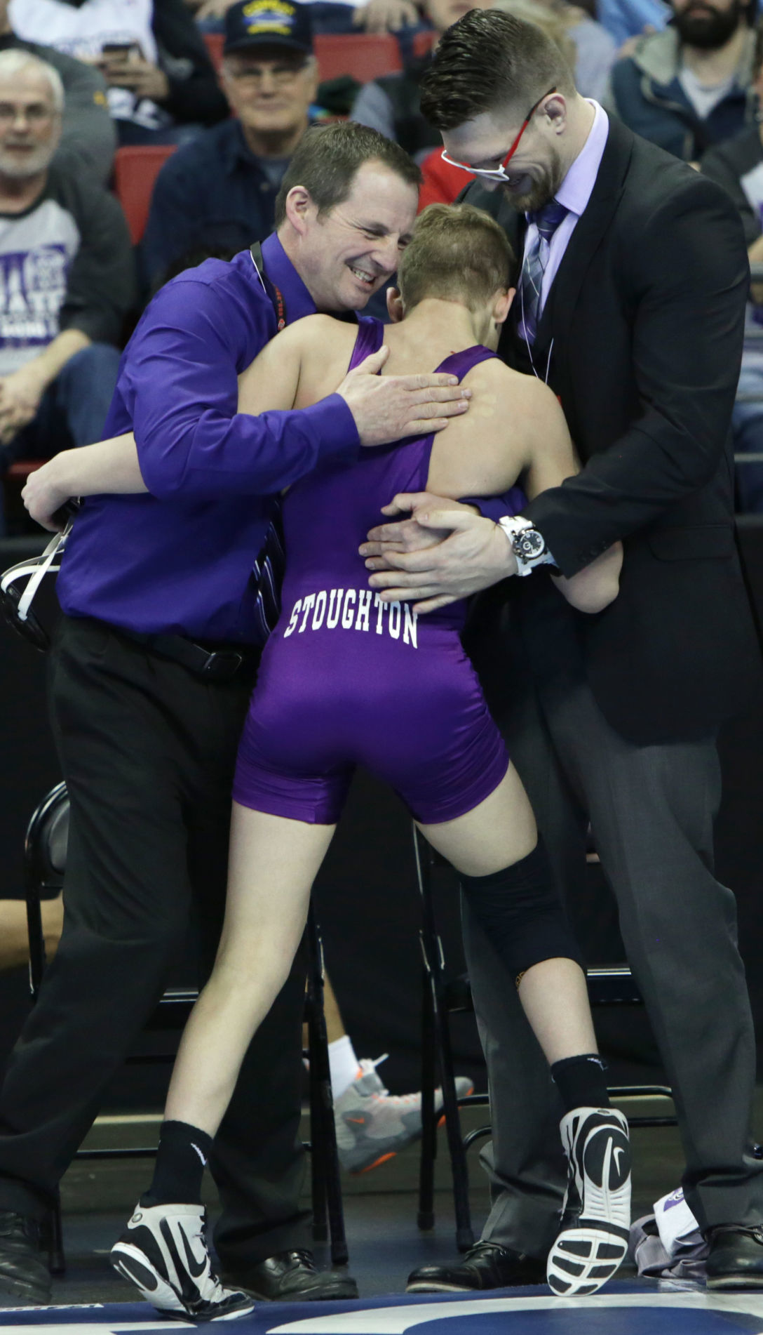Stoughton's Hunter Lewis celebrates his WIAA Division 1 individual state wrestling championship
