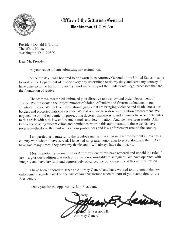 Sessions\' resignation letter | National Politics | madison.com