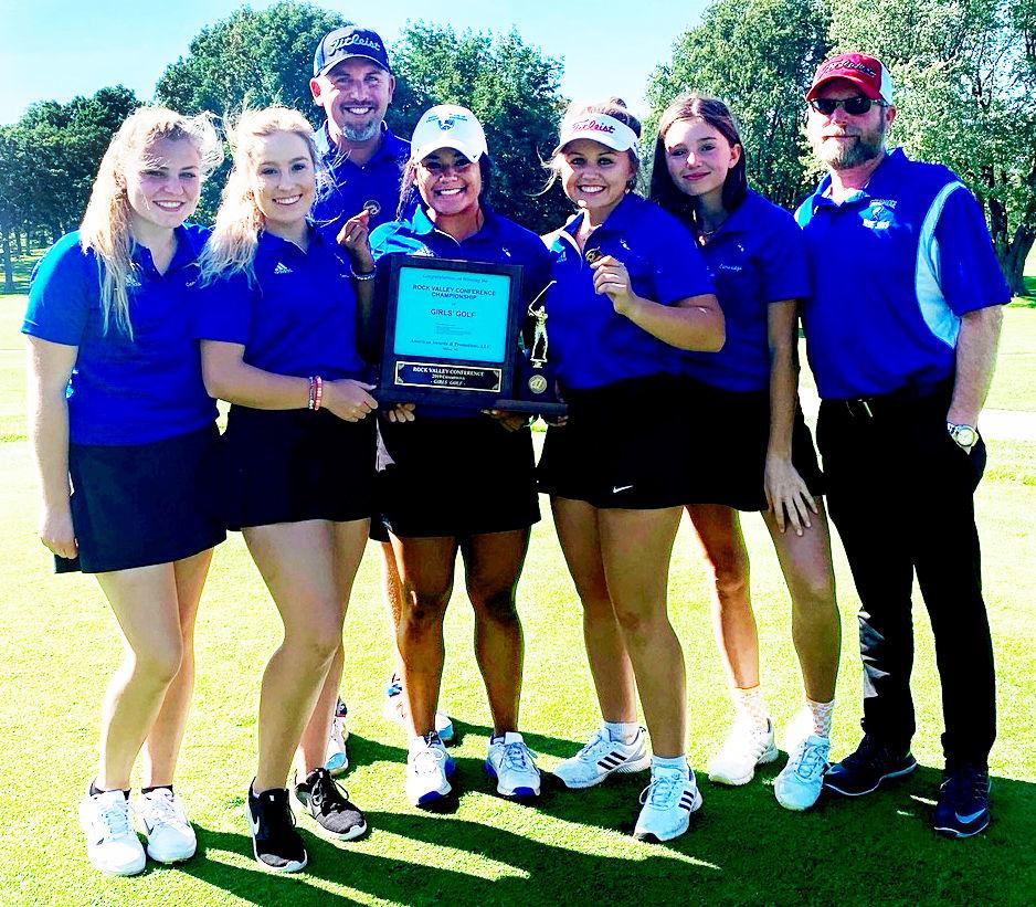 Prep girls golf photo: Cambridge girls celebrate their Rock Valley Conference championship