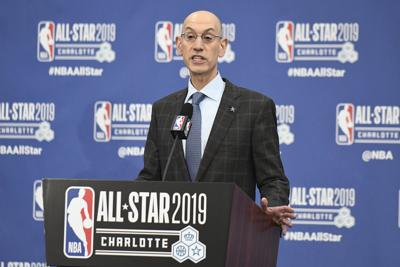 NBA Commissioner Adam Silver speaks to the media during a news conference at Spectrum Center in Charlotte, N.C., on Saturday, Feb. 16, 2019.