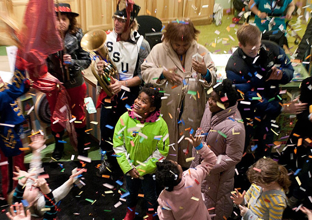 High angle shot of families and confetti - Photo by Henry K.JPG