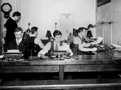 Cable Telegraphers at Associated Press Office, New York City