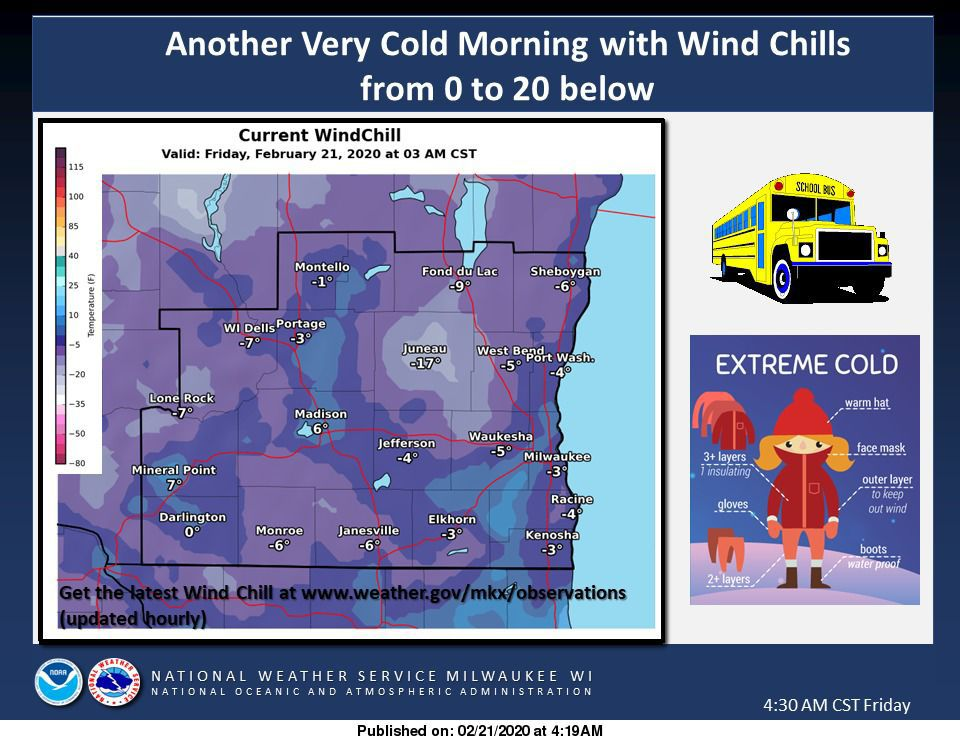 Wind chill values Friday morning by National Weather Service