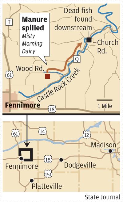 Castle Rock River manure spill map