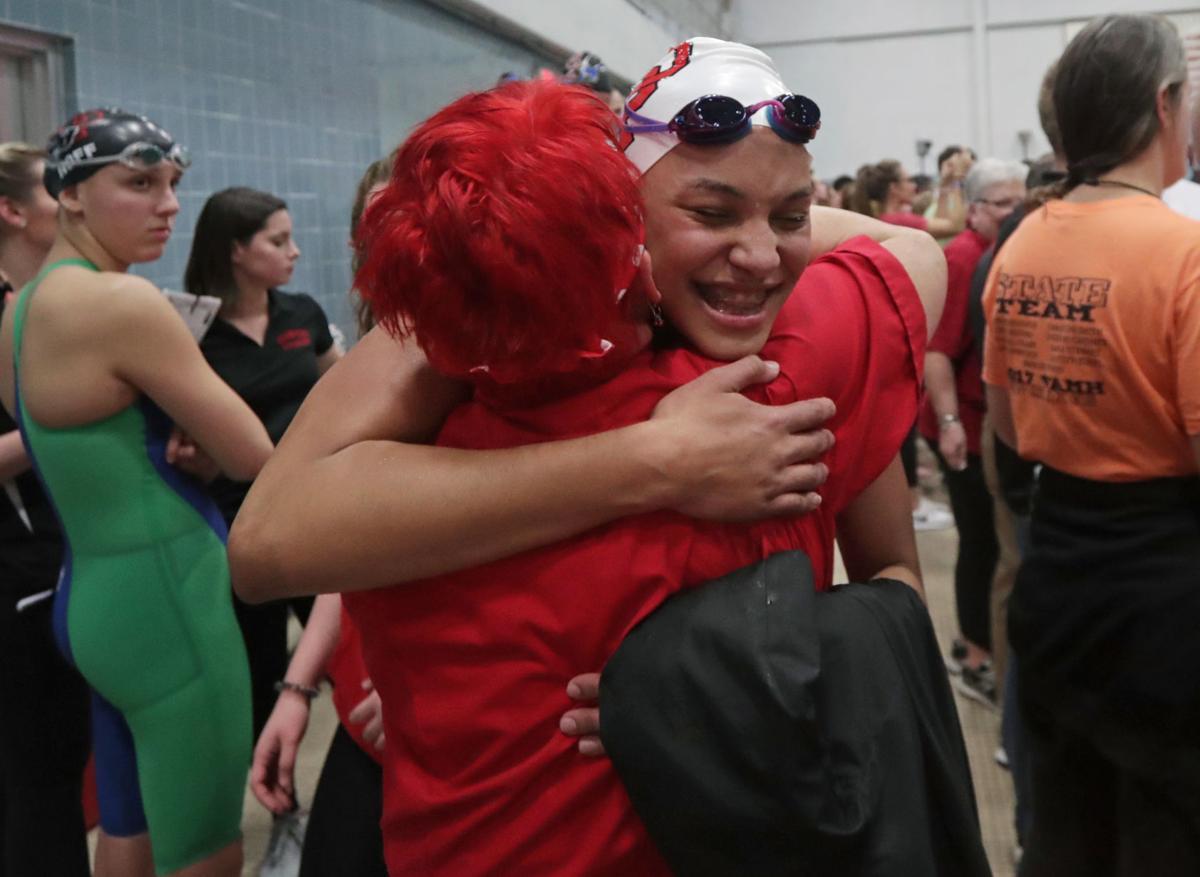 WIAA state girls swimming: Sun Prairie's Sophie Fiske celebrates a big day with coach Nancy Harms