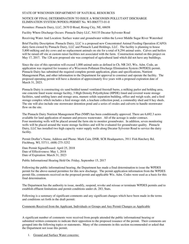 Public notice of Pinnacle Dairy permit