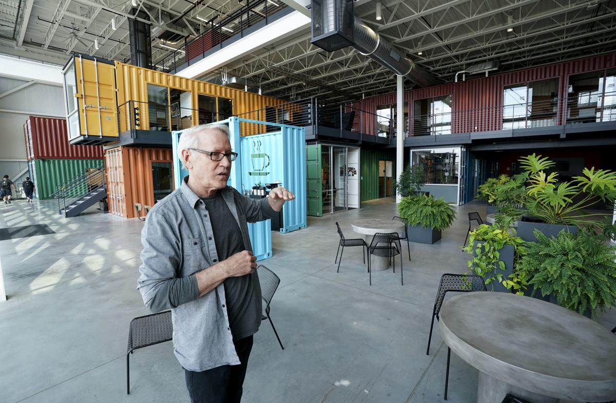 Shipping containers upcycled into offices amp up the