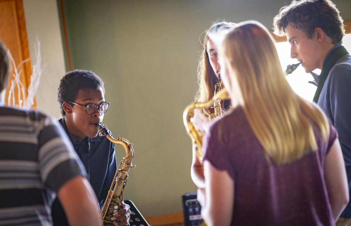 Middleton high school saxophonists practice