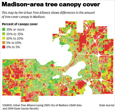 Madison-area tree canopy cover