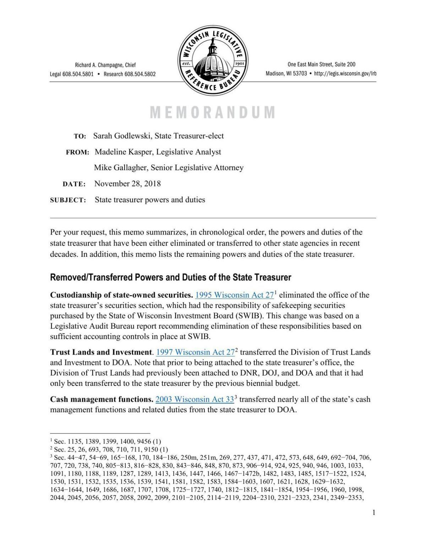 Legislative Reference Bureau Memo on State Treasurer