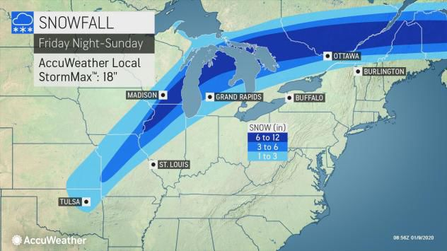 Snow forecast Friday night-Sunday by AccuWeather