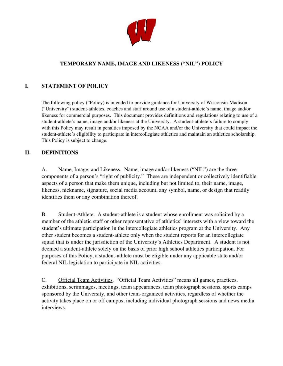 Wisconsin Badgers' NIL policy