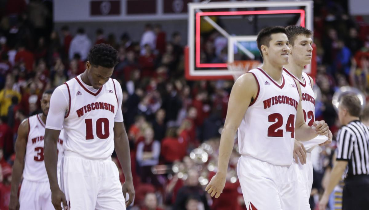 Nigel Hayes, Bronson Koenig, Ethan Happ photo