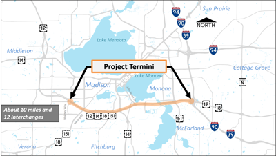 Beltline shoulder lane project map