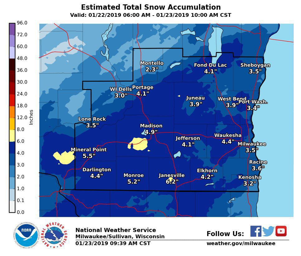 National Weather Service snow totals, 1-23-19 10 a.m.