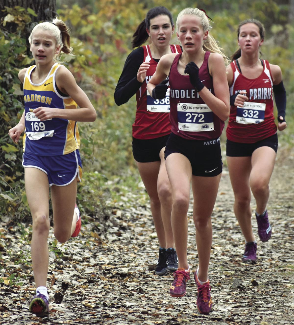 Prep girls cross country photo: Leaders jockey for position in Big Eight Conference meet