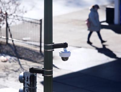 Security camera on light pole