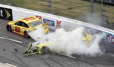 Matt Kenseth wrecks Joey Logano, AP photo 2