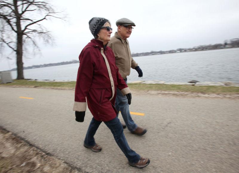 Sigrid and David walking