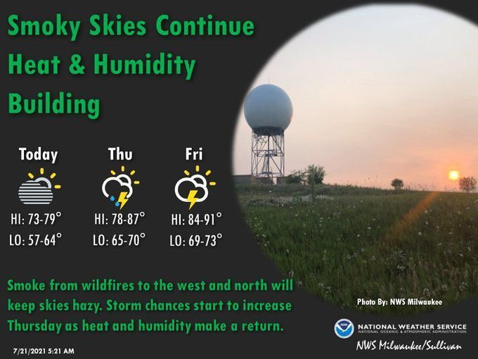 National Weather Service forecast graphic 7-21-21