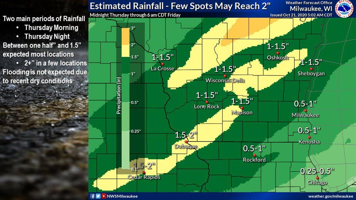Estimated rainfall by National Weather Service
