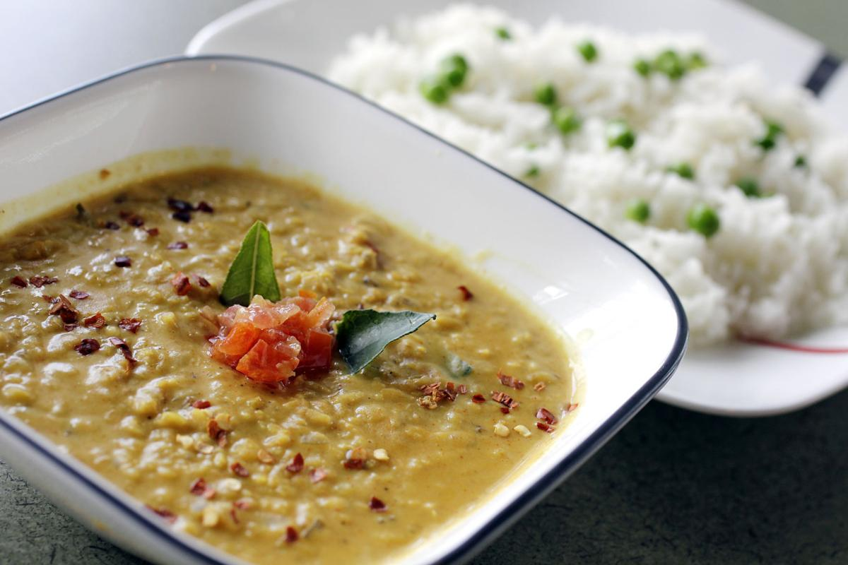 Dhal curry with rice at KJ's Curry Bowl