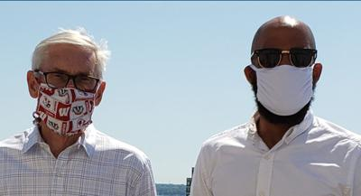 Tony Evers, Mandela Barnes wear masks