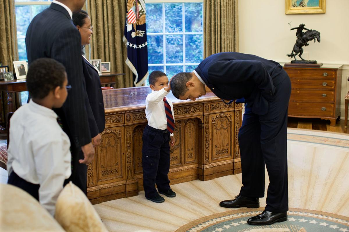 Obama with staff member's son