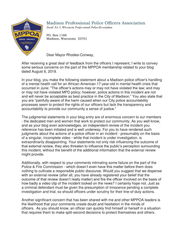 Madison police union response