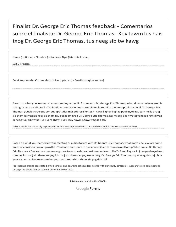Thomas feedback