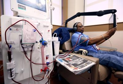 Harry by himself getting dialysis