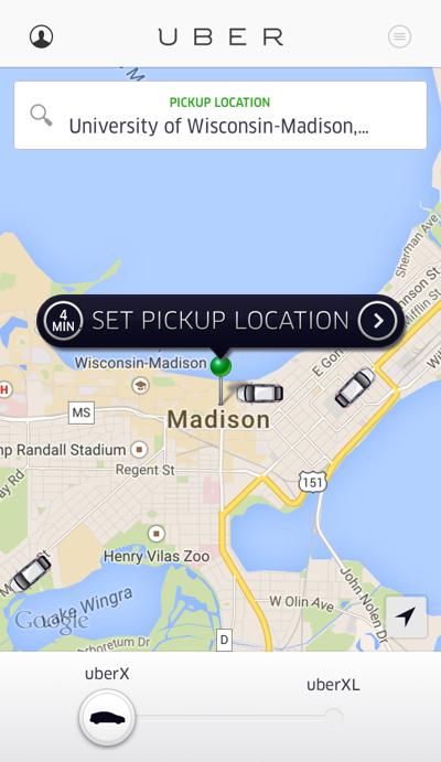 Uber app screenshot