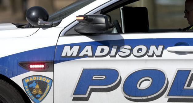 Madison squad car very close shot