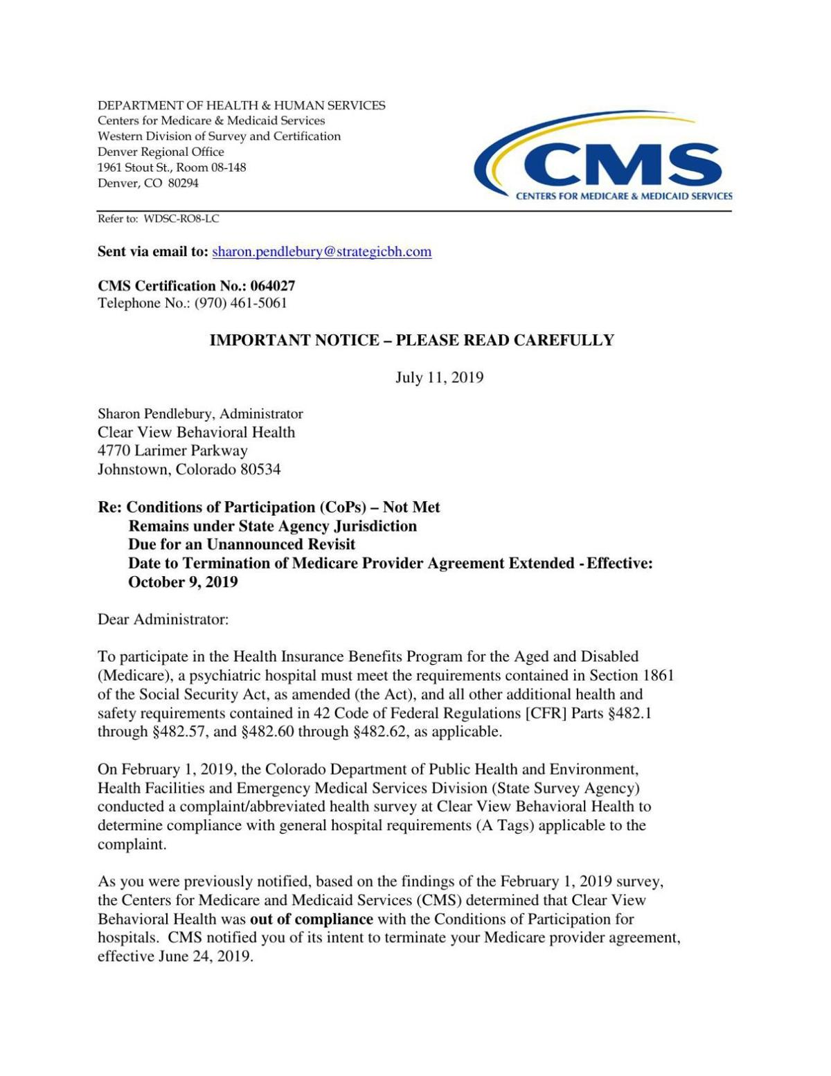 July 11 CMS letter to Clear View