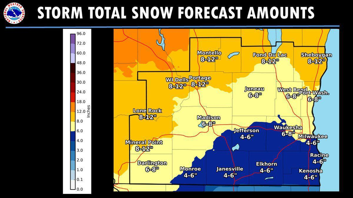 National Weather Service snow totals 2-12-19