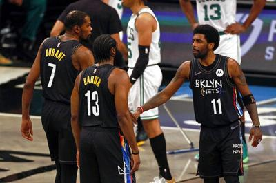 James Harden, Kyrie Irving, forward Kevin Durant, AP generic file photo