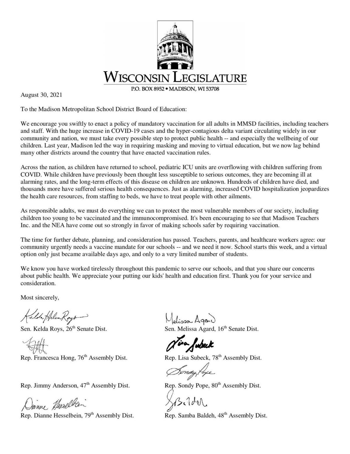 State lawmakers letter