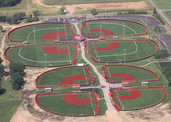 Photo of the layout of the fields at Woodside Sports Complex in Mauston