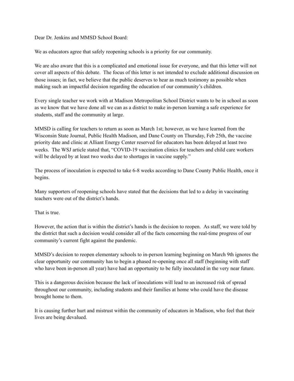 An Open Letter to Madison Metropolitan School District Regarding Reopening Schools