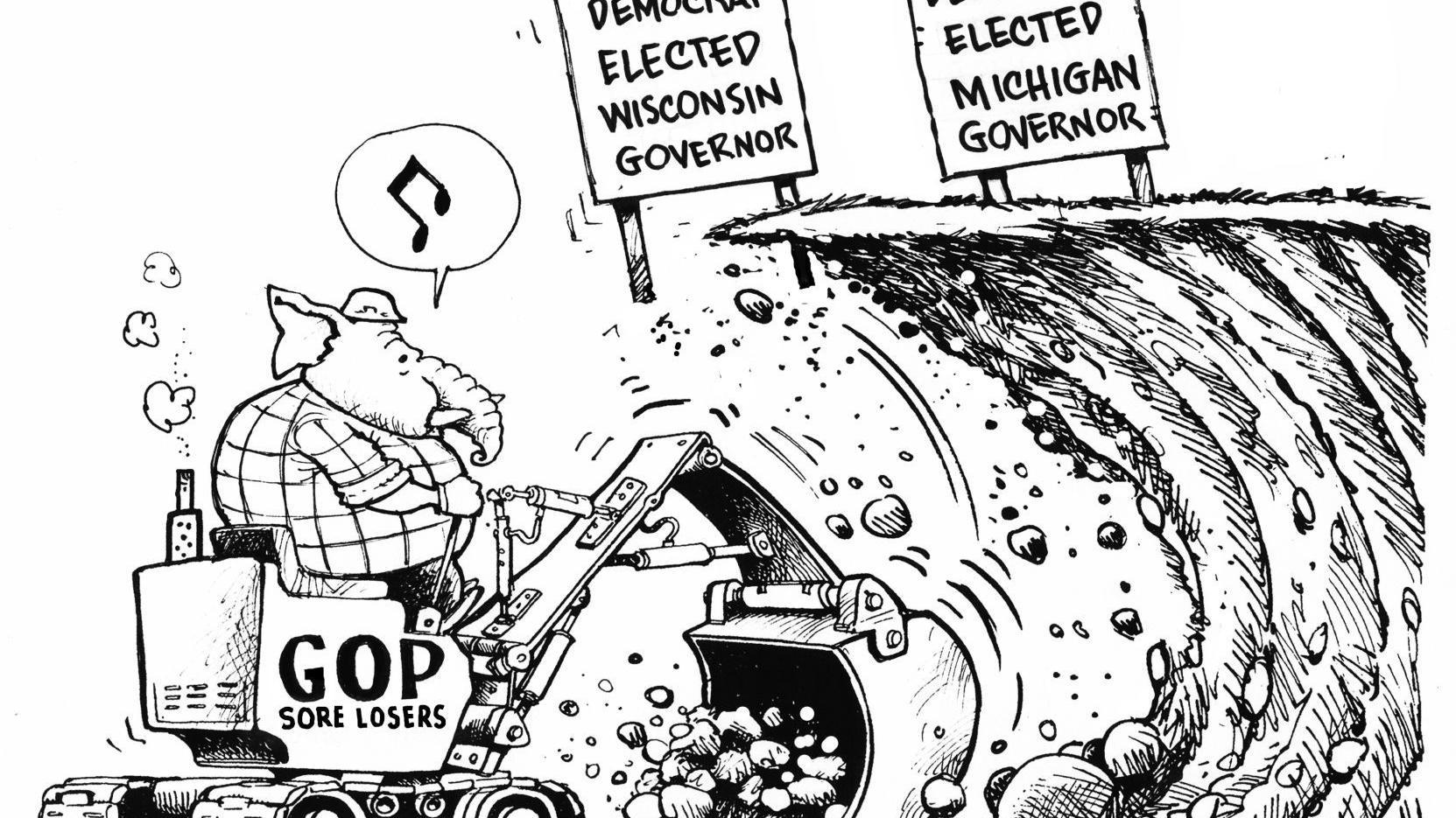 Wisconsin Republicans are sore losers, in Dave Granlund's latest political cartoon