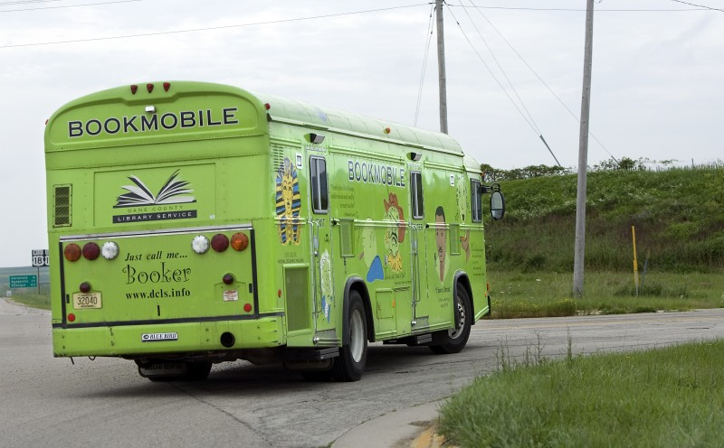 Dane County bookmobile on the road