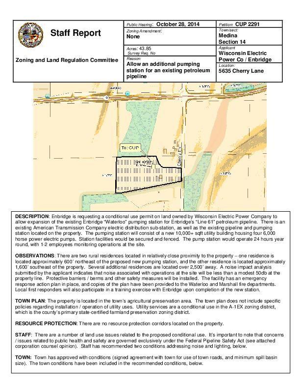 Updated staff report on Enbridge permit