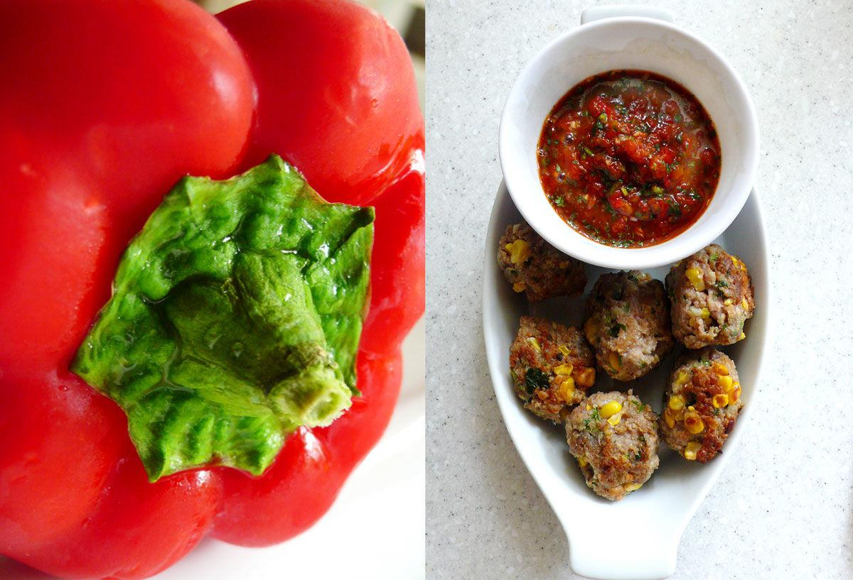 Turkey and corn meatballs with roasted red pepper sauce