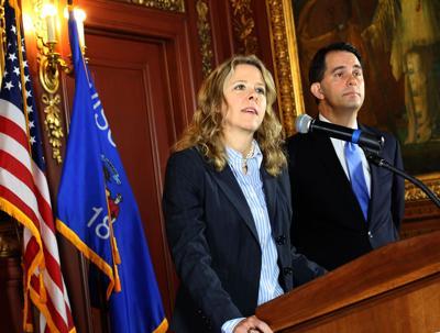 Rebecca Bradley, Scott Walker, State Journal photo